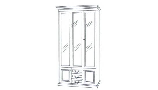 Шкаф книжный 3-х дверный ГОСУДАРЬ