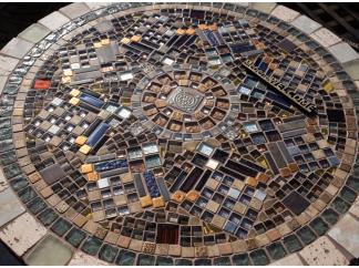 Стол с мозаикой Венский кофе_26 D70см