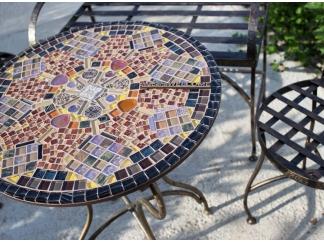 Мозаичный столик Венский кофе_28 d50