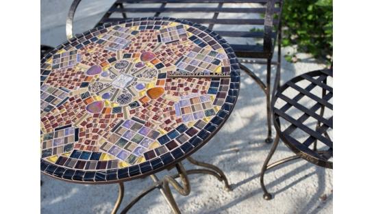 Мозаичный столик Венский кофе_28 d50 купить