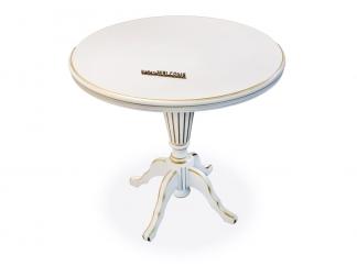 Чайный столик 80 Раскладной Молочный с золотом