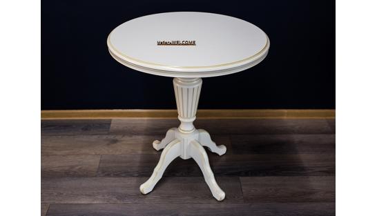 Чайный столик 70 Белый с золотом купить