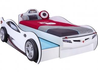 Champion racer Кровать-машина Coupe c выдвижной кроватью, белая, сп. м. 90х190/90х180 купить
