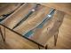 Стол Холон 9 из слэба карагача с рекой из эпоксидной смолы купить