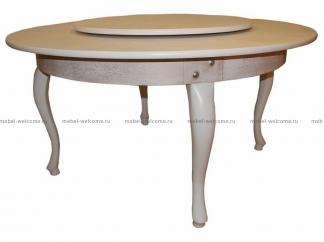 Стол обеденный круглый Понте с крутящейся серединой, патина, 160см купить