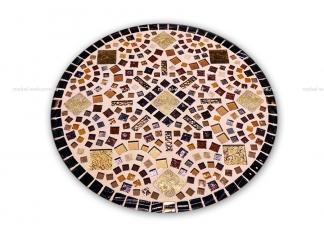 Кованый столик с мозаикой Золотая лихорадка_17 d50