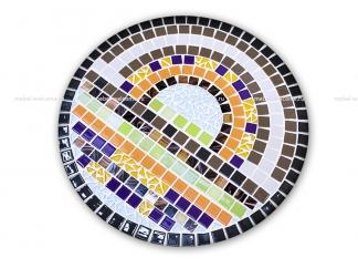 Стол украшенный мозаикой Каприз_4 d50