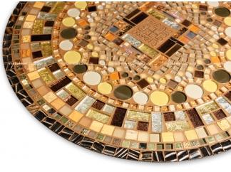 Столик отделанный мозаикой Венский кофе_2 D70см