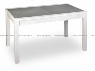 Стол с каменной столешницей Лиссабон 110/72 белый, серый керамогранит