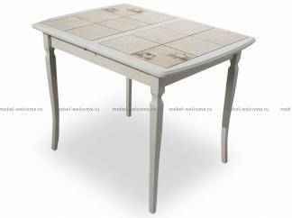 Стол Севилья 2 100/70 со столешницей из плитки, Молочный-К