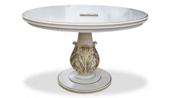 Большой белый круглый стол Венеция диаметр 120 см