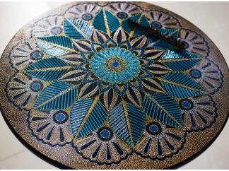 Чайно-кофейный столик с точечной росписью 50см
