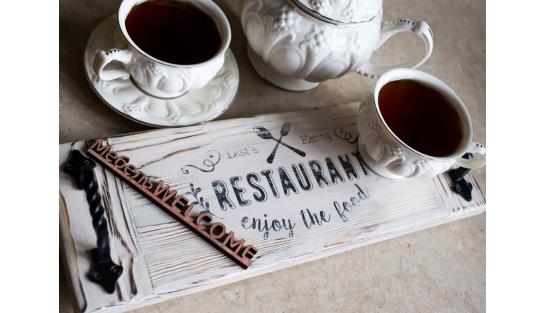 Поднос из дерева Ресторан M купить