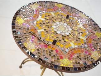 Стол мозаика  Золотая лихорадка_26 D70см