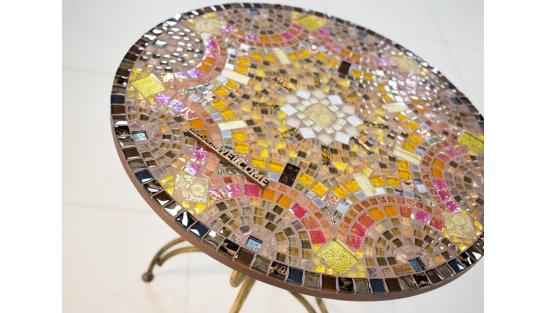 Стол мозаика Золотая лихорадка_26 D70см купить