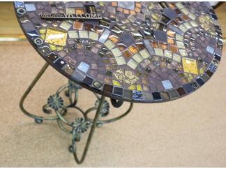 Стол с мозаикой Золотая лихорадка_27 D60см